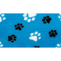 Vet Bed Teal with Black and White Paws