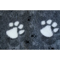 Vet Bed  Charcoal/Black With Large White Paws/Small Black Paws