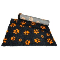Vet Bed Charcoal with Orange Paws  - 70cm x 220cm ( fits our 2 x 6 cage corflute )