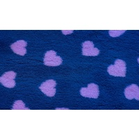Vet Bed Blue with Purple Hearts