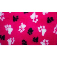 Vet Bed Cerise with Black and White Paws