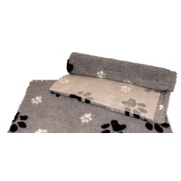 Vet Bed Grey with Black and White Paws