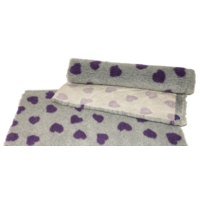 Vet Bed Grey with Purple Hearts