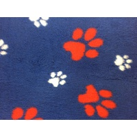 Vet Bed Navy with Red and White Paws - 35cm x 70cm ( fits our 2 x 1 loft corflute )