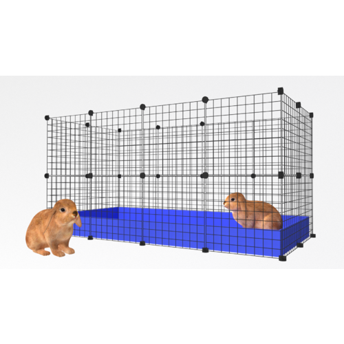 2 x 4 Indoor Rabbit Enclosure Black Grids with Purple Corflute