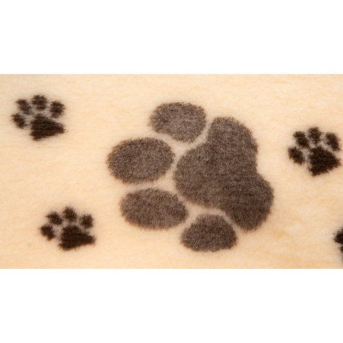 Vet Bed Cream with Large Brown Paws