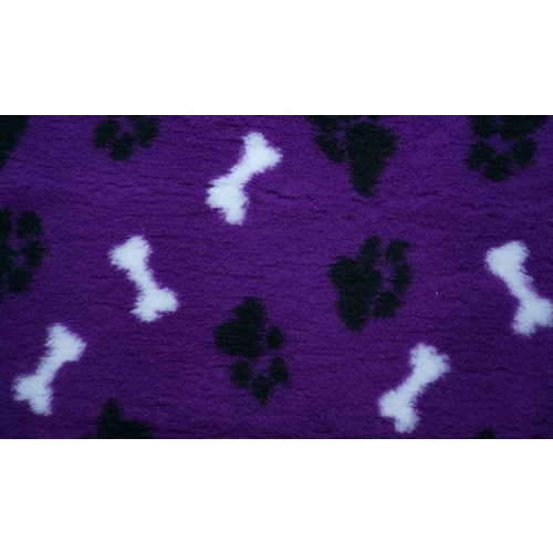 Vet Bed Purple with Black Paws and White Bones