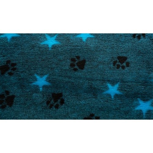 Vet Bed Teal with Teal Stars and Black Paws